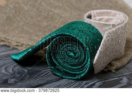 Two Men's Ties In Different Colors And Sizes. For Father And Son. A Piece Of Linen Cloth. Love And T