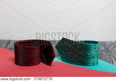 Two Men's Ties In Different Colors And Sizes. For Father And Son. Love And Togetherness Objects. On