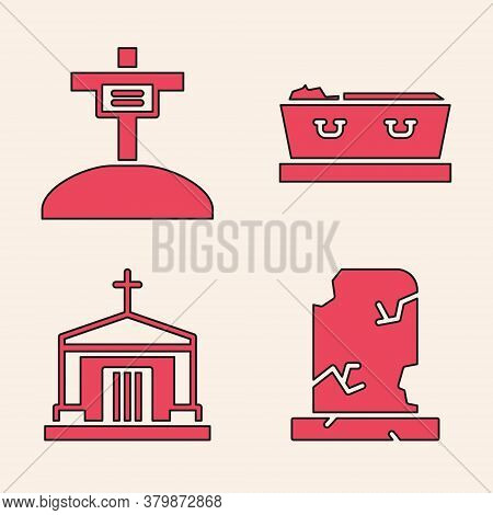 Set Old Grave With Tombstone, Grave With Cross, Coffin With Dead And Old Crypt Icon. Vector