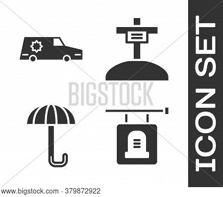 Set Signboard Tombstone, Hearse Car, Umbrella And Grave With Cross Icon. Vector