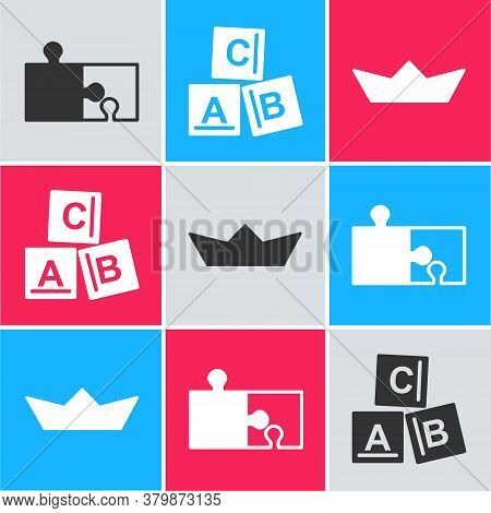 Set Piece Of Puzzle, Abc Blocks And Folded Paper Boat Icon. Vector