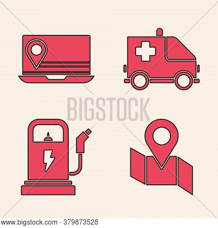 Set Folded Map With Location Marker, Laptop With Location Marker, Ambulance And Emergency Car And El