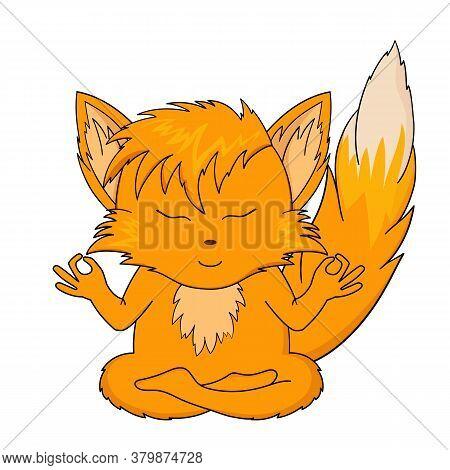 The Fox Meditates. Vector Illustration Of Sticker Orange Chanterelle Meditates