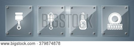 Set Car Wheel, Car Key With Remote, Engine Piston And Engine Piston. Square Glass Panels. Vector