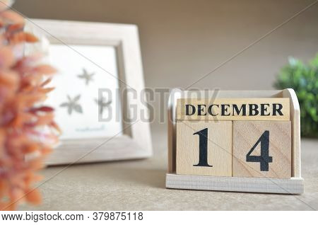 December 14, Date Design In Natural Concept With Number Cube.