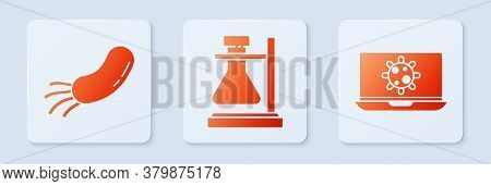 Set Test Tube Flask On Stand, Bacteria And Bacteria On Laptop. White Square Button. Vector