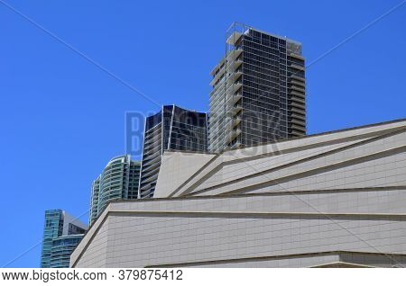 Abstract View Of Downtown Miami,florida Cultural Center And Condominium Towers.