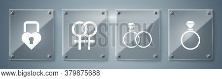 Set Wedding Rings, Wedding Rings, Female Gender Symbol And Castle In The Shape Of A Heart. Square Gl