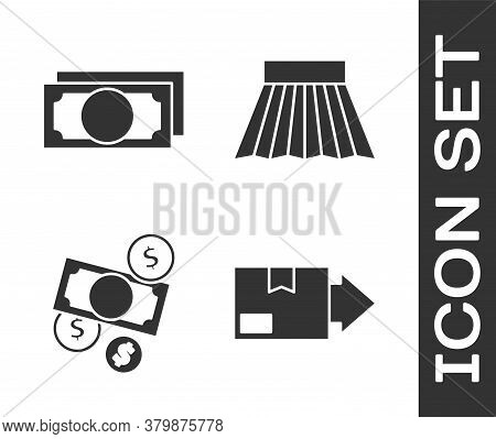 Set Carton Cardboard Box, Stacks Paper Money Cash, Money Cash And Coin And Skirt Icon. Vector