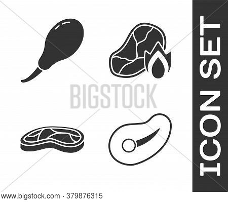 Set Steak Meat, Chicken Leg, Steak Meat And Grilled Steak Meat And Fire Flame Icon. Vector