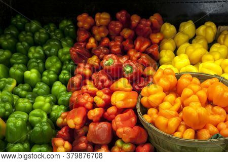 Variety of bell peppers on display for sale in market