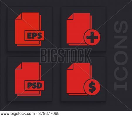 Set Finance Document, Eps File Document, Add New File And Psd File Document Icon. Vector