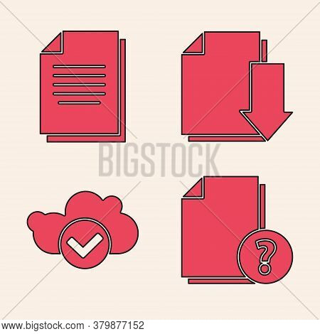 Set Unknown Document, Document, Document With Download And Cloud With Check Mark Icon. Vector