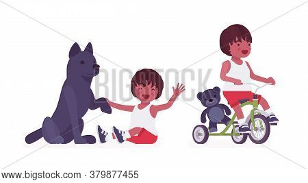 Toddler Child, Black Little Boy Enjoying Play With Dog Pet, Riding Tricycle. Cute Sweet Happy Health