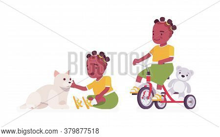 Toddler Child, Black Little Girl Enjoying Play With Cat Pet, Riding Tricycle. Cute Sweet Happy Healt