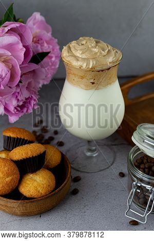 Coffee And Milkshake And Muffins. Dalgona Coffee - The Korean Coffee Drink On Wooden Background. Ins