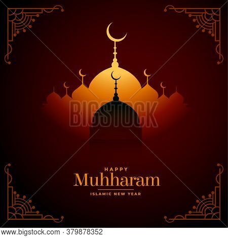 Happy Muharram Wishes Festival Card With Mosque Design