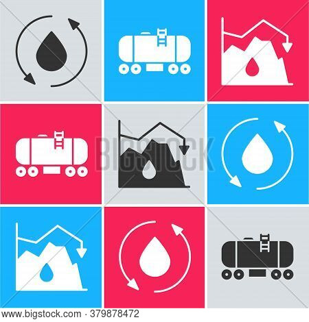 Set Oil Drop, Oil Railway Cistern And Drop In Crude Oil Price Icon. Vector
