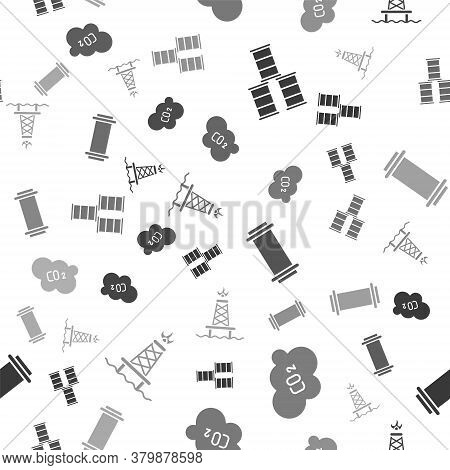 Set Barrel Oil, Co2 Emissions In Cloud, Industry Pipe And Oil Rig With Fire On Seamless Pattern. Vec
