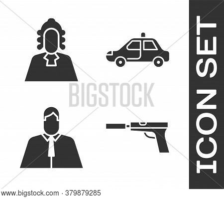 Set Pistol Or Gun With Silencer, Judge, Lawyer, Attorney, Jurist And Police Car And Flasher Icon. Ve