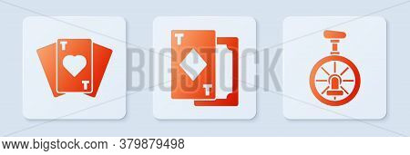 Set Playing Cards, Playing Cards And Unicycle Or One Wheel Bicycle. White Square Button. Vector
