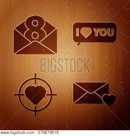 Set Envelope With 8 March, Envelope With 8 March, Heart In The Center Of Target Aim And Speech Bubbl