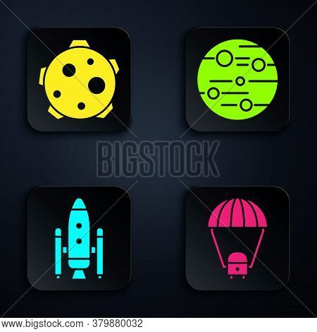 Set Space Capsule And Parachute, Planet, Space Shuttle And Rockets And Planet Mars. Black Square But