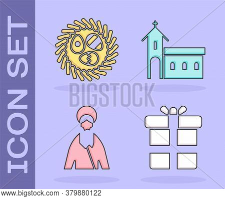 Set Gift Box, Easter Egg In A Wicker Nest, Jesus Christ And Church Building Icon. Vector