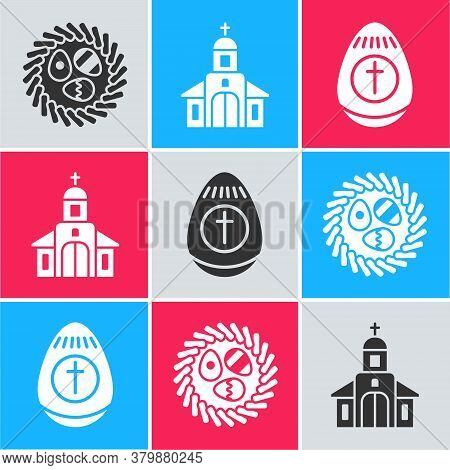 Set Easter Egg In A Wicker Nest, Church Building And Easter Egg Icon. Vector