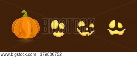 Set Of Halloween Elements. Set Of Pumpkin Smiles On Black Background. Scary Illustration Can Be Used