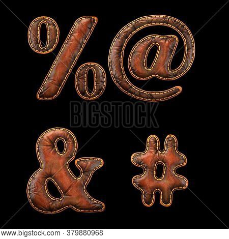 Set of symbols percent, at, ampersand and hash made of leather. 3D render font with skin texture isolated on black background. 3d rendering