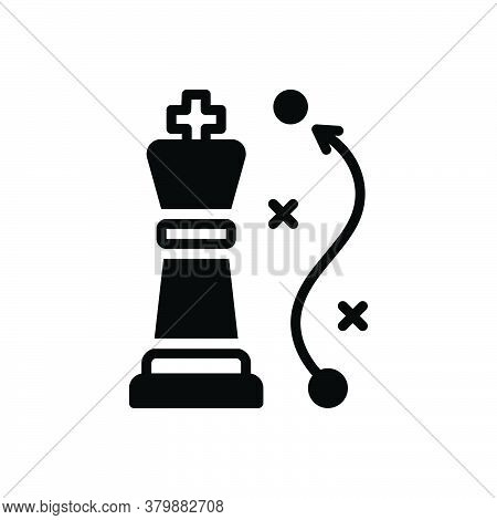 Black Solid Icon For Strategy Approach Blueprint Maneuvering Tactics Chess Game