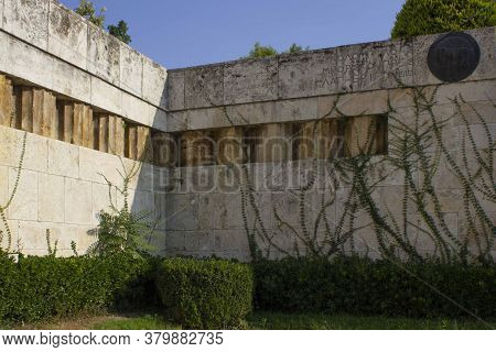 Athens, Greece - August 12 2016: Architectural Detail Of The Walls Of The Parliament Palace In Athen