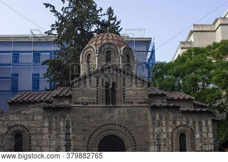 Athens, Greece - August 12 2016: The Ancient Church Of Kapnikarea In Athens, Greec