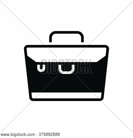 Black Solid Icon For Briefcase Suitcase Bag Office Portfolio Carry Businessman Luggage