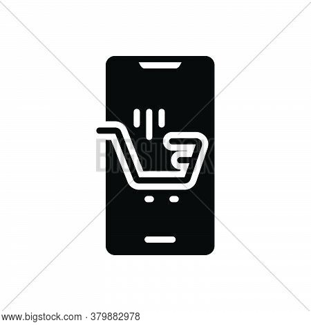 Black Solid Icon For Ecommerce Browsing Spending Purchasing Mobile Trolly Online-shopping Digital Su