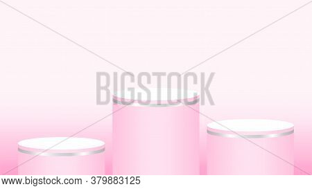 Pink Pedestal Cylinder Circle 3 Steps For Cosmetics Showcase, Podium Circle Stage Pink Pastel Soft C
