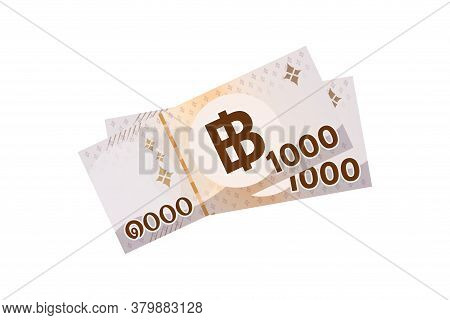 2000 Baht Thai Banknote Money, Thai Currency Two Thousand Thb Concept, Pile Of Paper Money Isolated