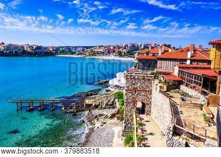 Sozopol, Bulgaria. Summer Turqois Sea Waters And Ancient Walls Of Apollonia, Black Sea.