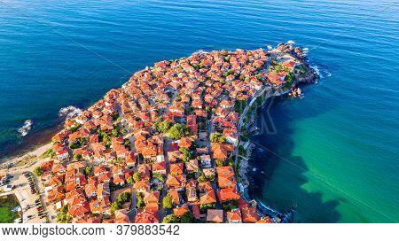Sozopol, Bulgaria. Aerial View Of The Antique Apollonia, Seaside Town Near Burgas