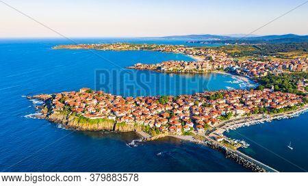 Sozopol, Bulgaria. Aerial View Of The Old Town Apollonia, Seaside Town Near Burgas