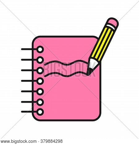 Cute Vector Icons Of Pink Copybook And Yellow Pen.  Education Symbol, Template, Logo And Sticker.