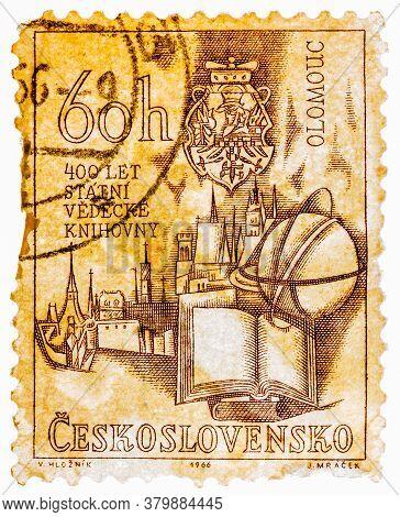 Czechoslovakia - Circa 1966: Stamp Printed In The Czechoslovakia Shows Holy Trinity Column And Olomo