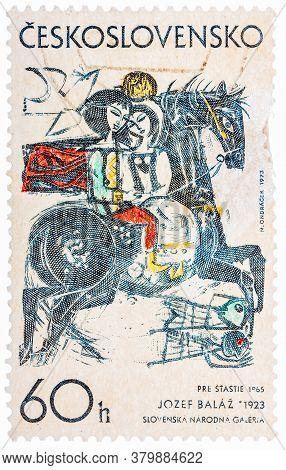 Ceskoslovensko - Circa 1968: Stamp Printed In Czech Czechoslovakia Shows Draw By Jozef Balaz Happine