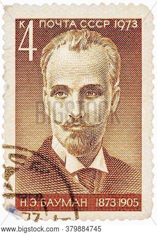 Ussr - Circa 1973: A Stamp Printed In Ussr Shows Nikolai E. Bauman 1873-1905 , Bolshevist Revolution