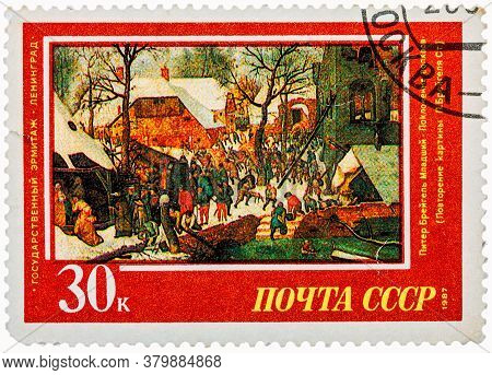 Ussr - Circa 1987: Stamp Printed In The Russia, Shows Draw By Artist Pieter Bruegel Jr - Adoration O