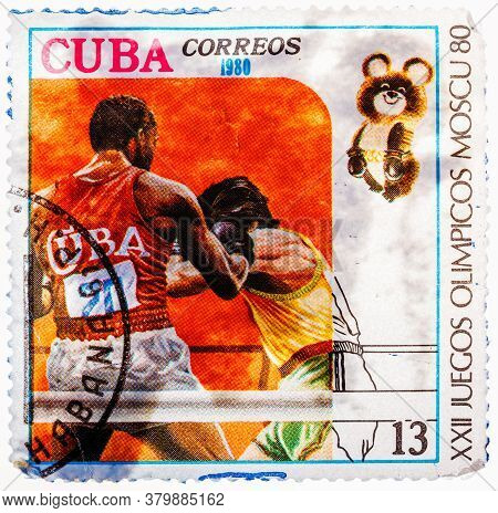 Cuba - Circa 1980: A Stamp Printed In Cuba, Devoted Olympic Games In Moscow 1980 And Shows Boxing, T