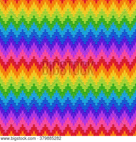 Universal Abstract Bright Rainbow Seamless Pattern Of Simple Geometric Figures Rectangles With Zigza