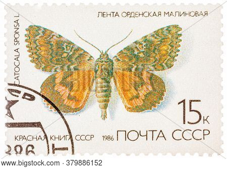 Ussr - Circa 1986: A Stamp Printed In The Ussr Russia Shows A Butterfly With The Inscription Catocal