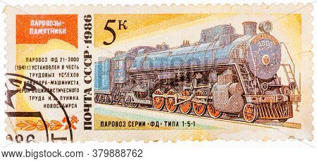 Ussr- Circa 1986: A Stamp Printed In The Ussr Shows The Fd 21-3000 Steam Locomotive Made In 1941, Ci